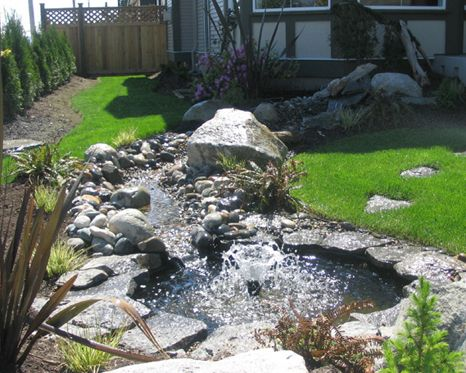 Pond with fountain landscape design dry creek beds for Pond landscape design