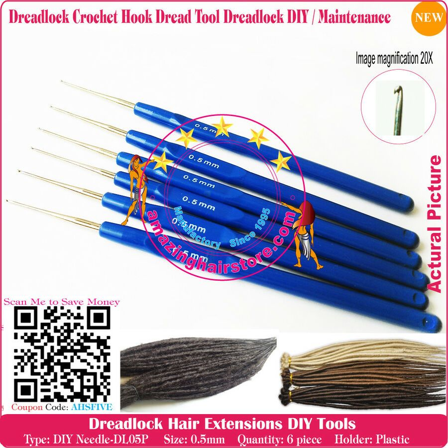 6pc 0 6mm Professional Dread Crochet Hook Make Repair Dreadlock Hair Extensions In 2020 Crochet Hooks Dreadlock Hair Extension Crochet Hook Dreads