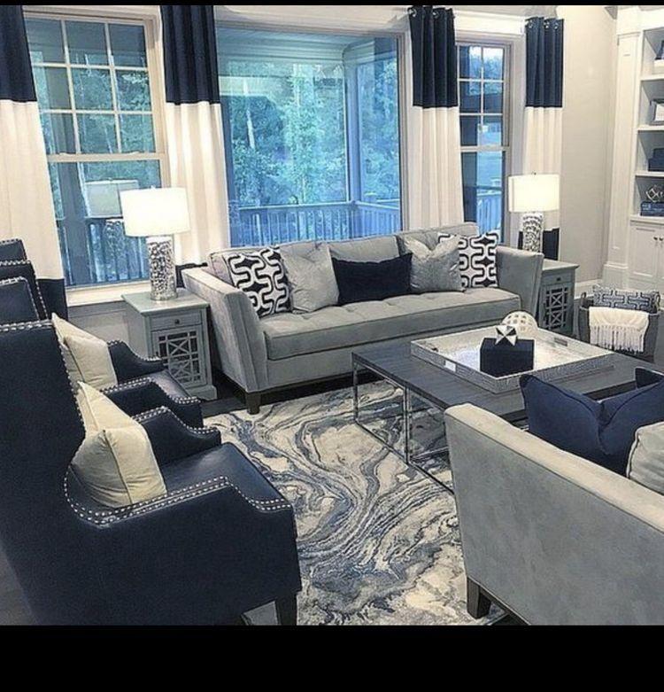 Grey Navy White Light Blue In 2020 Blue Living Room Decor Blue Living Room Living Room Decor Gray