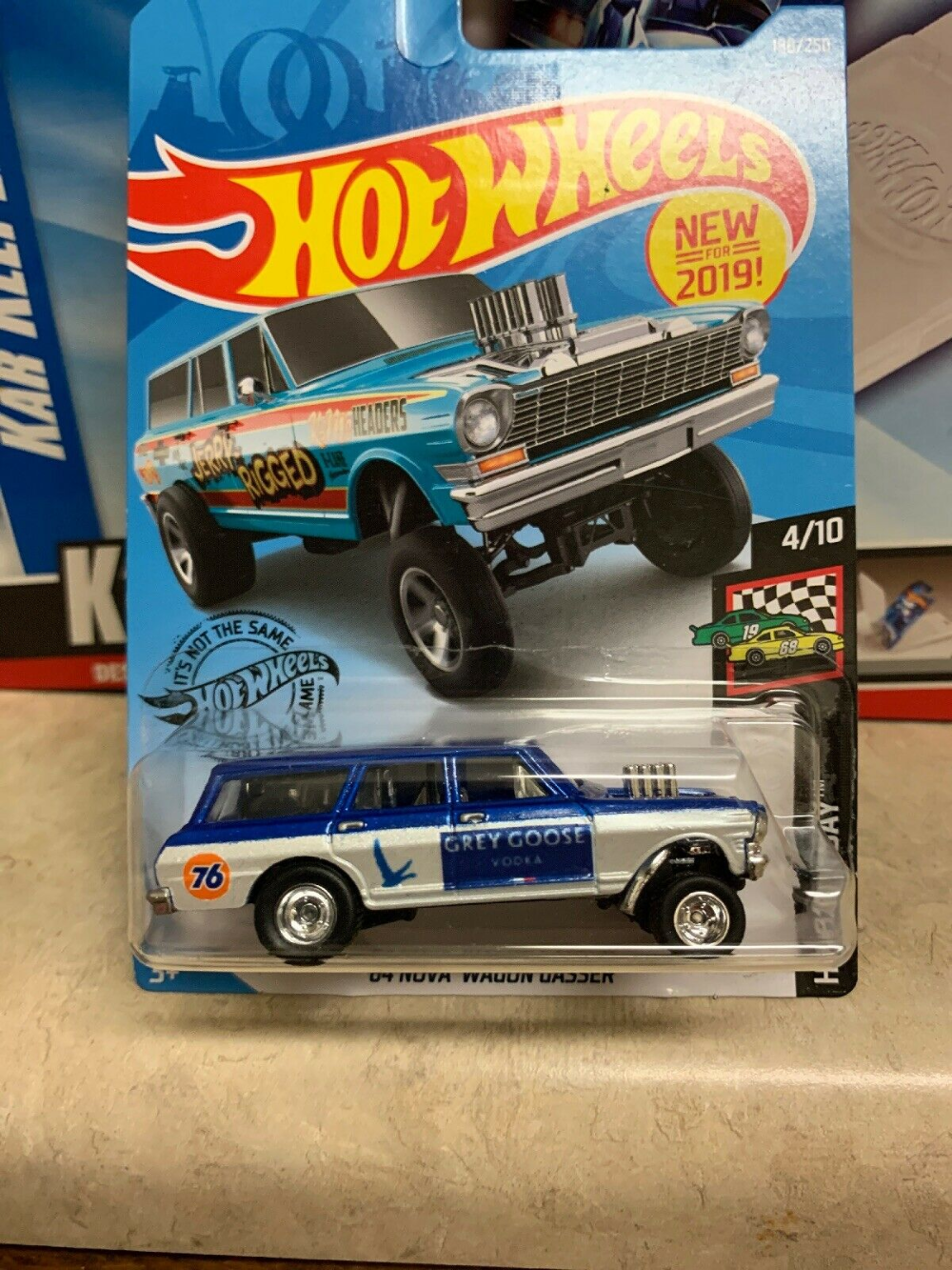 2019 Hot Wheels 64 Nova Wagon Gasser Custom Grey Goose Racing Real