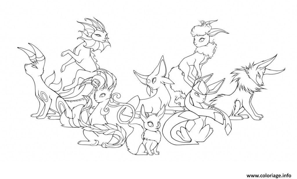 Coloriage Evolution Pokemon.Coloriage Pokemon Eevee Evolutions Mega Dessin A Imprimer