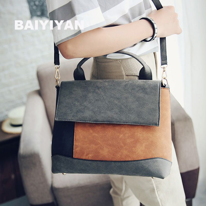 Fashion Patchwork Handbag Women Nubuck Leather Tote Bags Purses High Quality Artificial Office Bag Spell