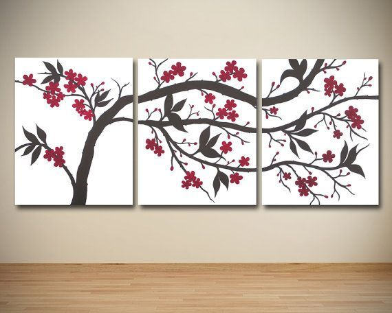 Image Result For Dark Red And Cream Blossoms Canvas Wall Art