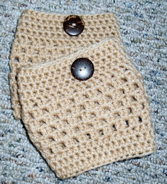Tan V Stitch Boot Cuffs with a Coconut Button