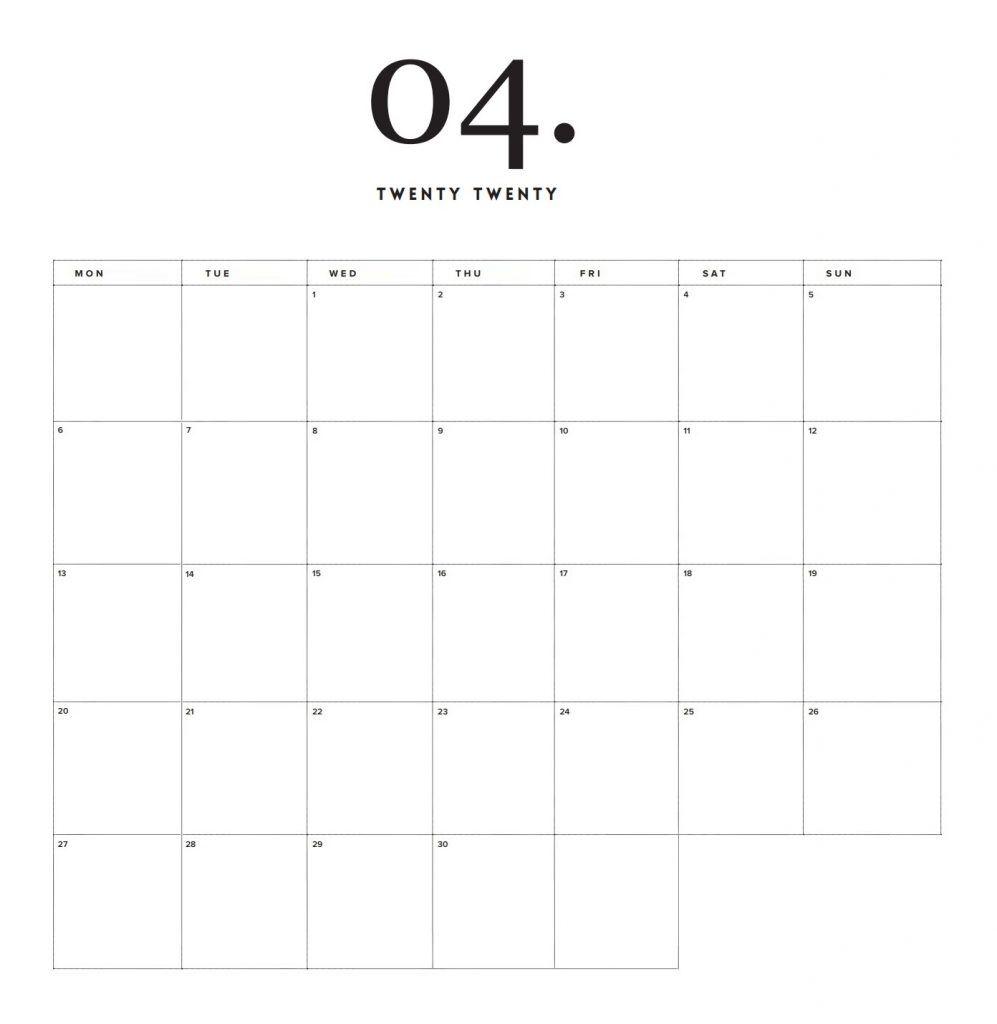 Modern Minimal 2020 Printable Calendar V 2020 G Shablony