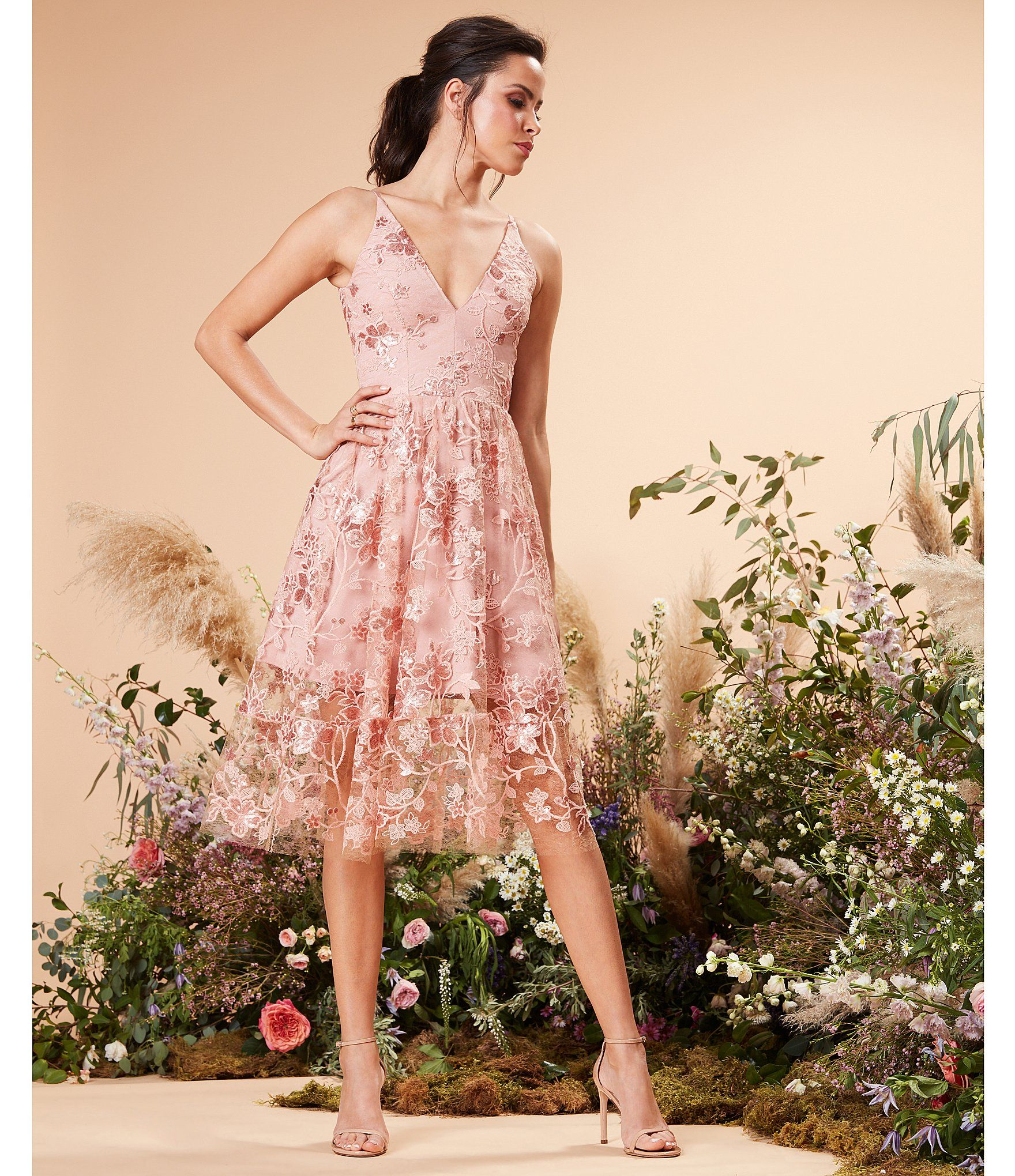 69c238b7623 Dress the Population Ally Floral Embroidered Sequin Lace Fit   Flare Midi  Dress  Dillards