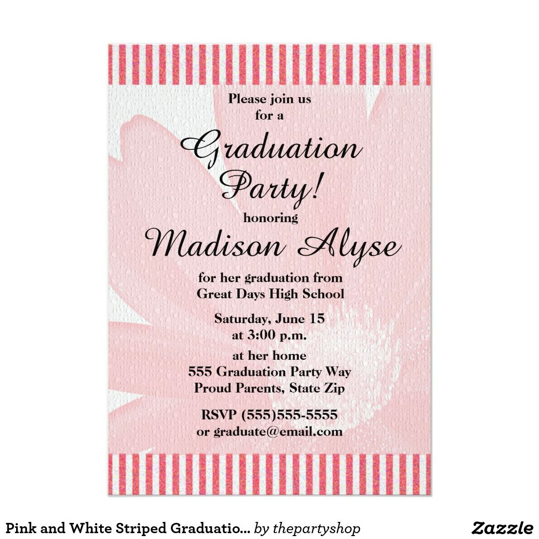 Pink and white striped graduation party invitation add your photo pink and white striped graduation party invitation add your photo on the back http filmwisefo