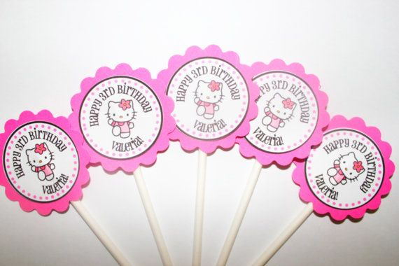 Hello Kitty Cupcake Toppers, Hello Kitty cake toppers, Hello Kitty party decor
