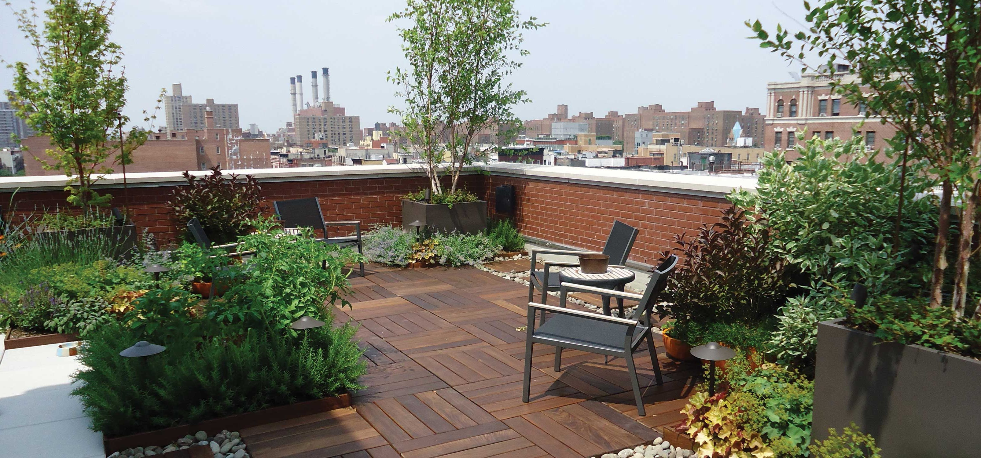 Outdoor beautiful cozy terrace garden picture for House roof garden design