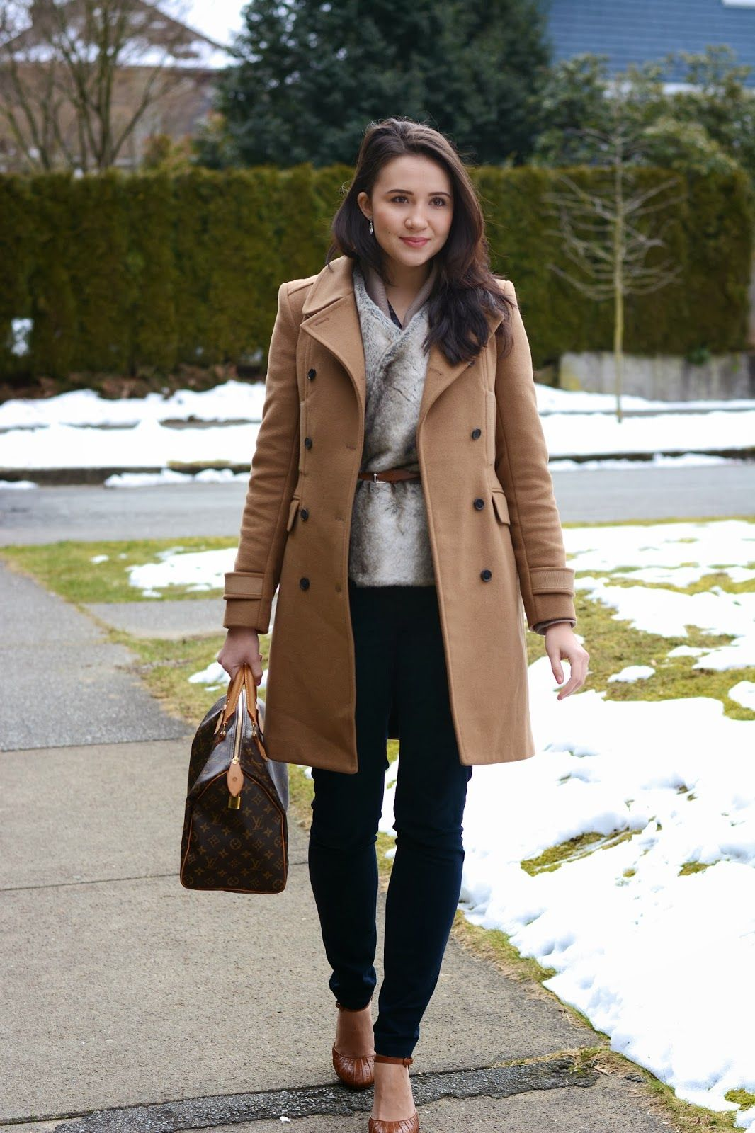 Camel Tones, Winter Style, Snow Day Outfit, Canadian