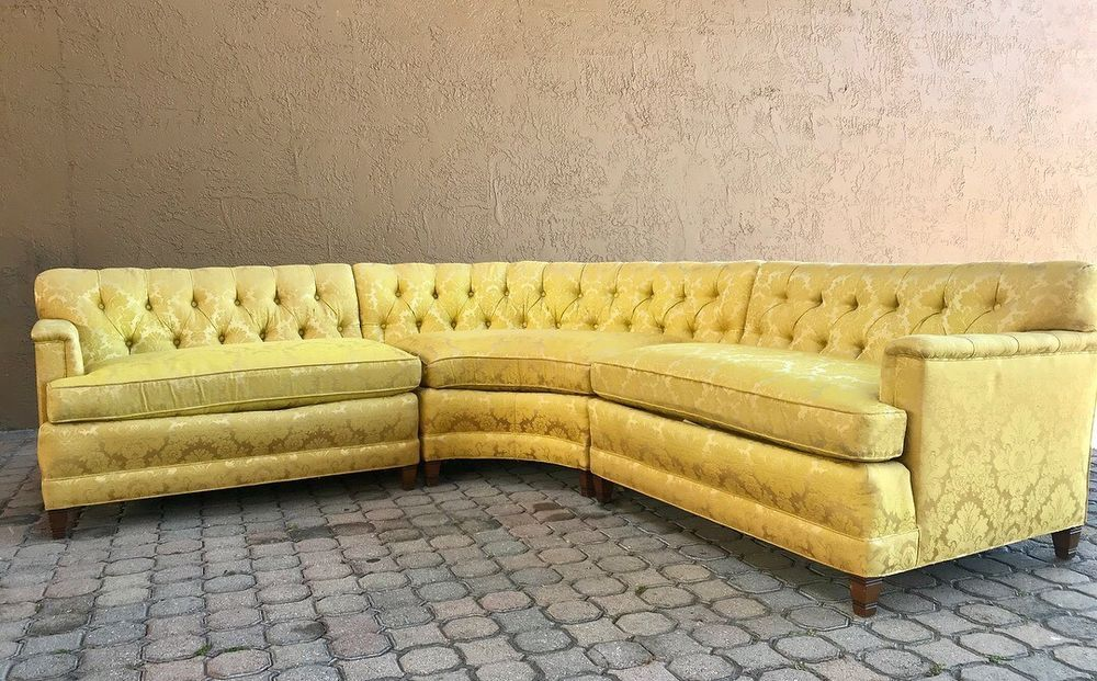 Hollywood Regency Tufted Sectional Sofa