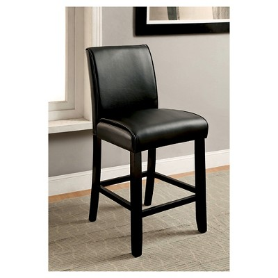 IoHomes Bailey II Leatherette Parson Counter Height Chair   Black (Set Of 2)