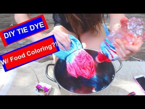 DIY: TIE DYE WITH FOOD COLORING! - YouTube | Craft ❤ Dyeing ...