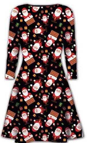 Ladies//Women Christmas Reindeer Red//Green Long Sleeve Swing Dress