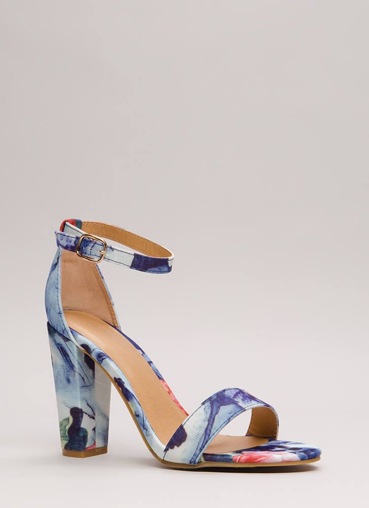 Rush To Print Chunky Ankle Strap Heels | shoes | Ankle strap