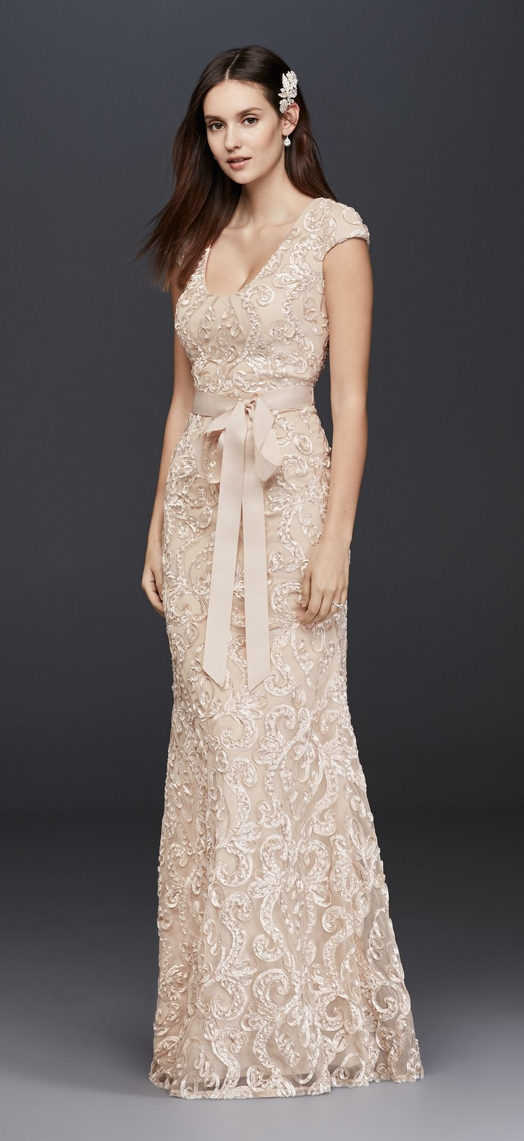 ea41614026391 Champagne Cap Sleeve Soutache Lace Dress with Grosgrain Sash by Betsey &  Adam available at David's Bridal