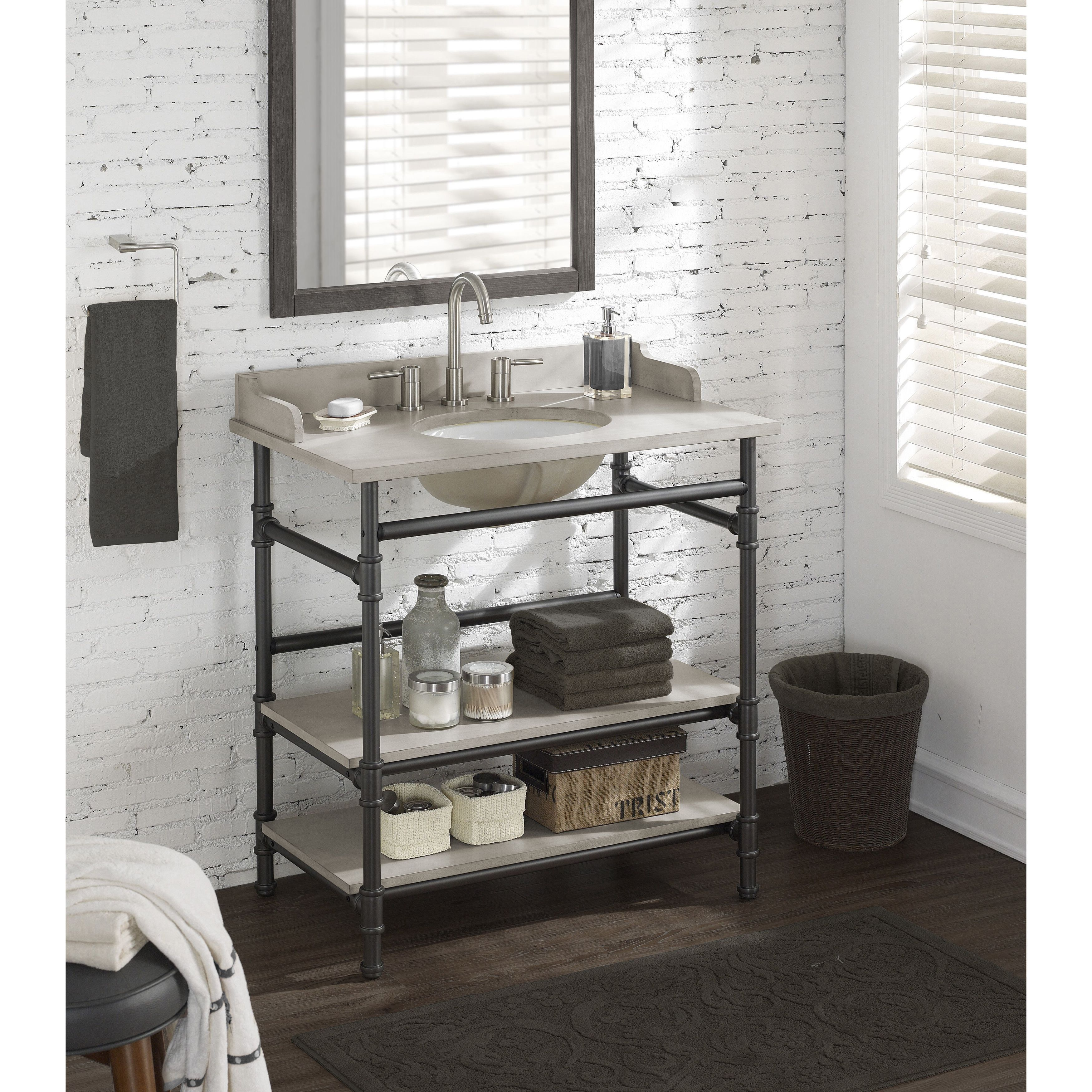 36inch industrial open shelf vanity with backsplash