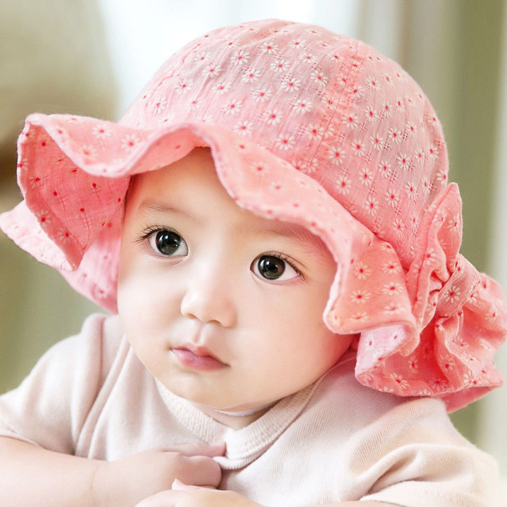 ae3b4410951 Baby Girl Pink Bucket Hat Toddler Infant Sun Cap Summer Outdoor Baby Girl  Bucket Hat Sweet Princess Girl Hat