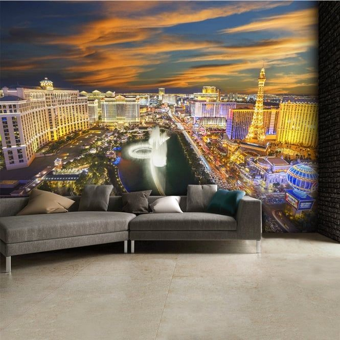 Patio Furniture Clearance Las Vegas: Las Vegas At Night Skyline Wall Mural