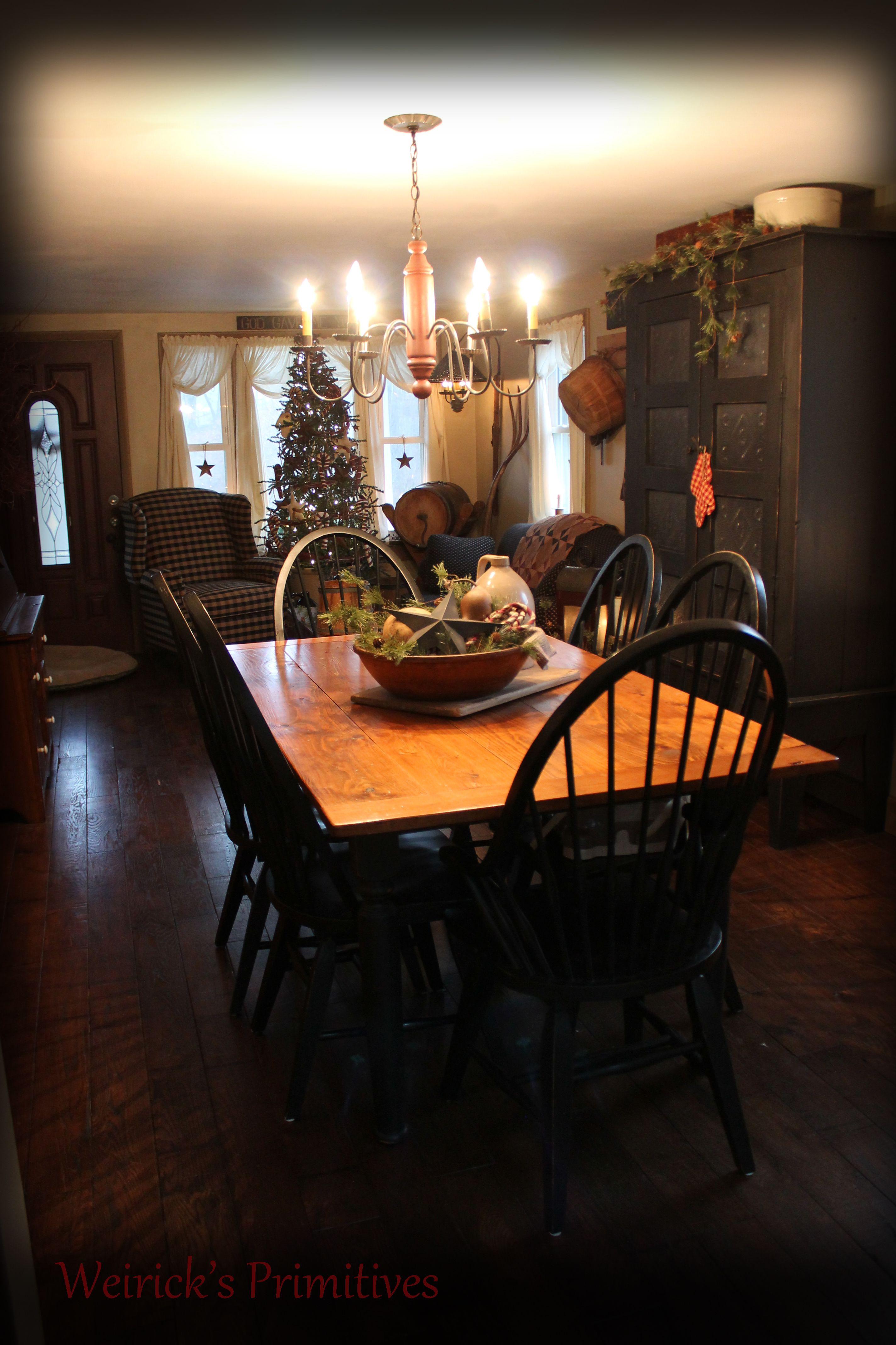 Christmas At The Weiricku0027s........ Https:// · Primitive Dining  RoomsPrimitive HomesPrimitive FurniturePrimitive ...