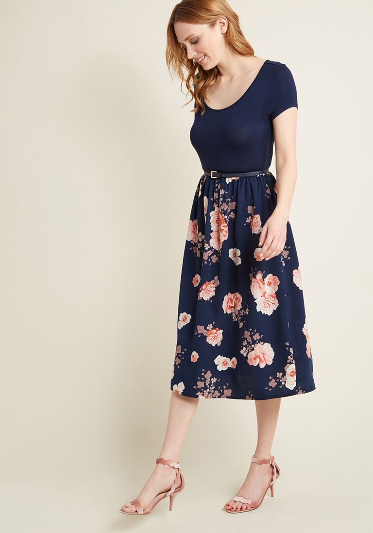 10985d4262d Patio Gathering Floral Midi Dress in M - Cap Twofer by ModCloth