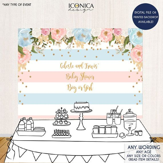 Baptism Backdrop Printed Or Printable File BAR0002 Personalized Decor First Communion Banner Decorations