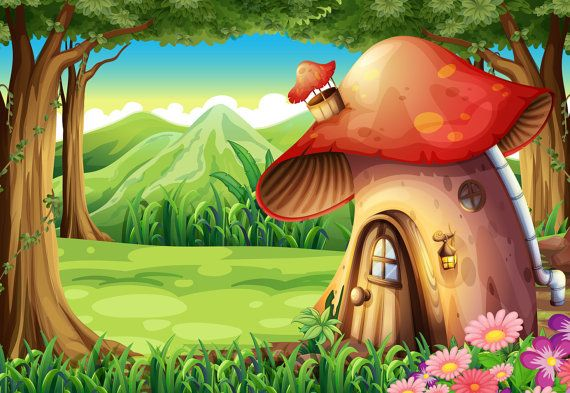 Mushroom House Backdrop Fairy Tale Kids Toddler Printed Fabric Photography Background G1172 Fairy Mural Mushroom House Backdrops
