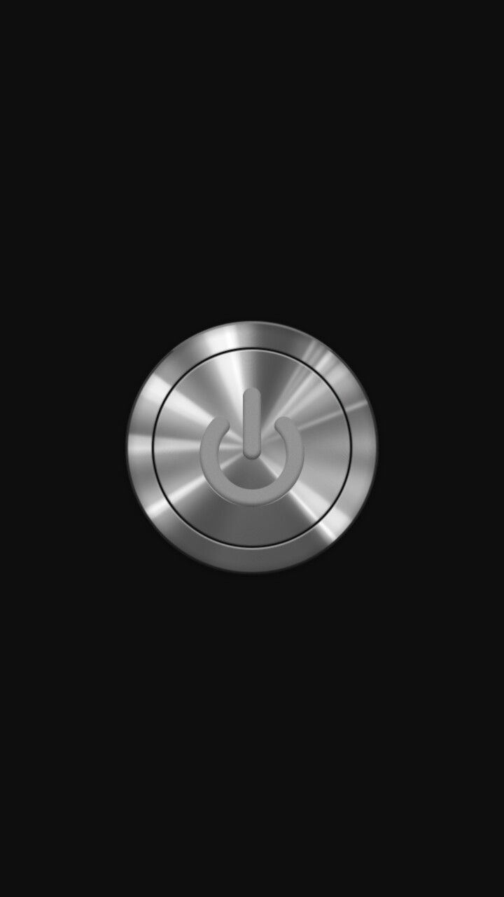 3d Silver Power Button On Black Wallpaper For Lock Screen On Iphone