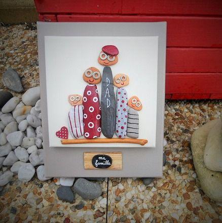 Tableau de famille r alis en peinture acrylique brique for Tableau avec bois flotte