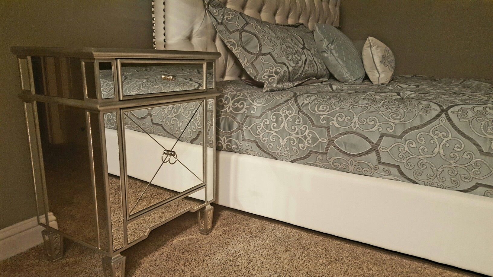 Mirrored nightstand Lamps Plus Tufted Bed frame Coasters Furniture ...