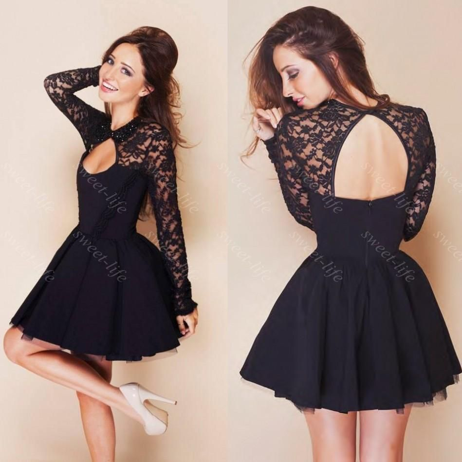 cute short prom dresses cheap black lace long sleeve backless
