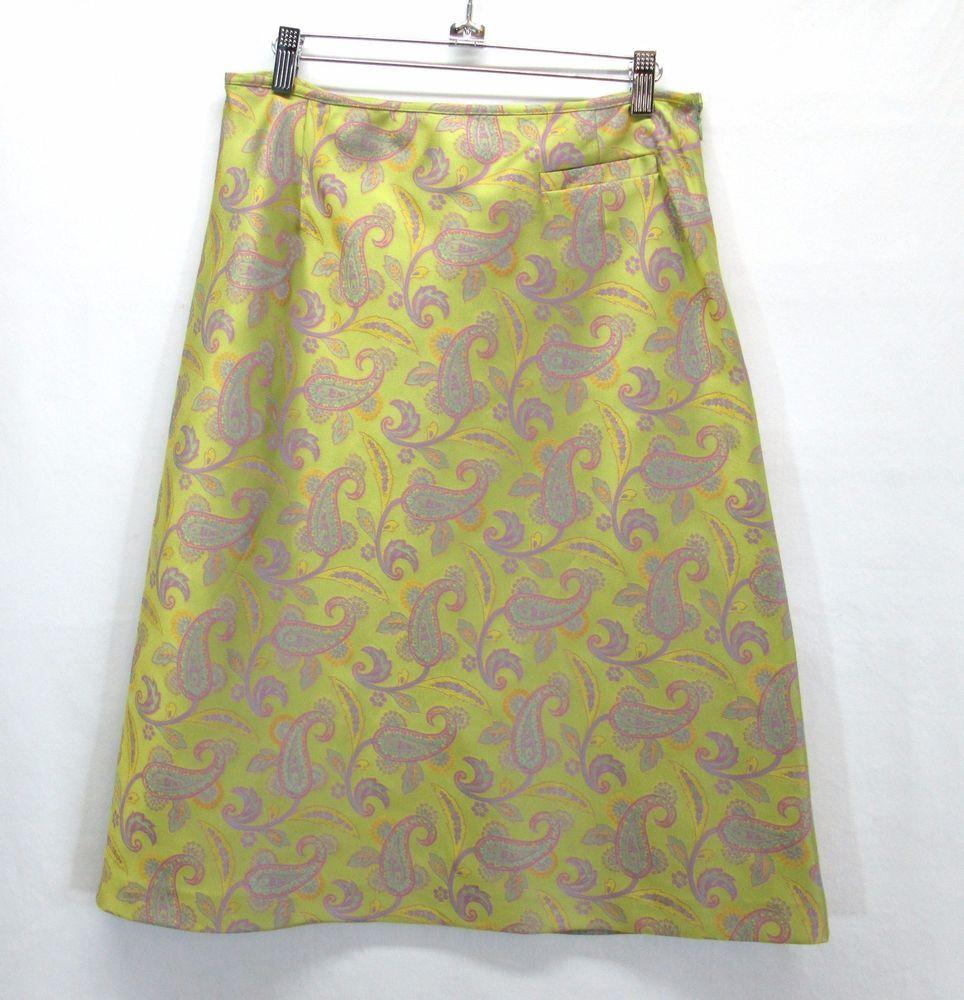 a8e2421c7 GEIGER Collections Austria Lime Brocade Skirt Womans Sz 40 US 10 A-Line  Paisley #GEIGER #ALine