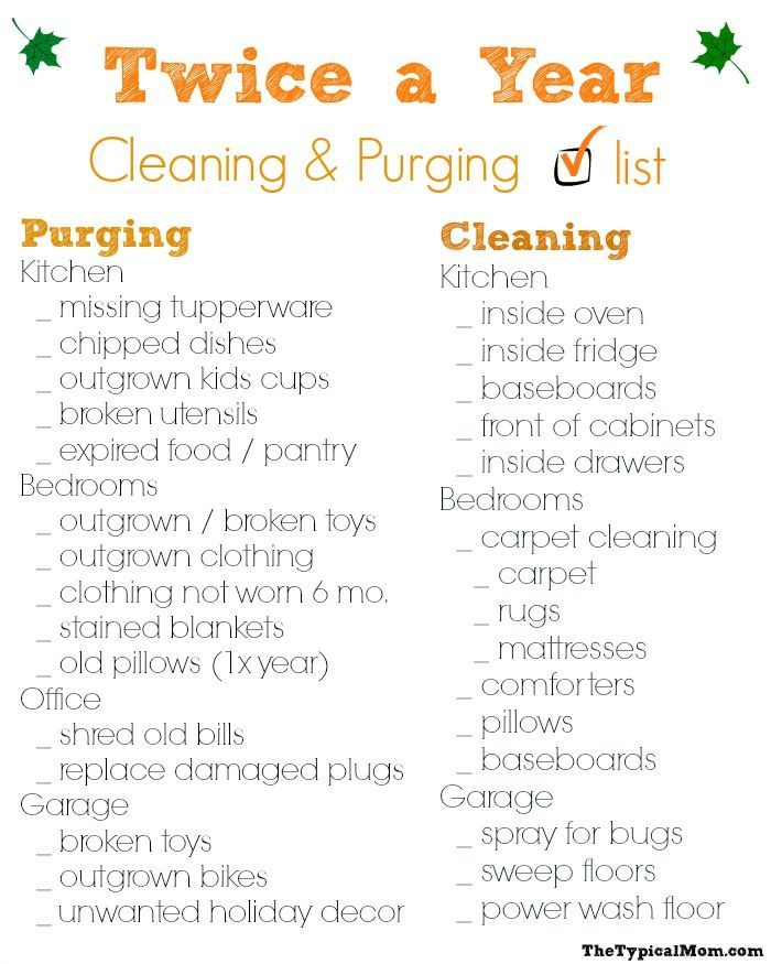 Free Printable Cleaning Checklist What You Should Clean And Purge