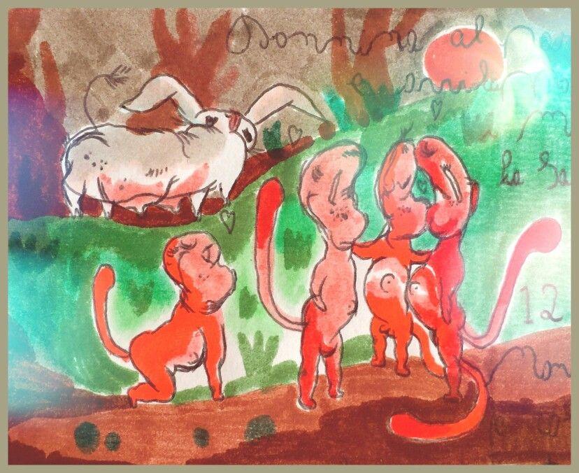 Avviluppoidi presso Avvilups, dodicesimo pianetino rosso e quello con differente orbita, piuttosto distanziato dagli altri e chiamato Sniff traducibile come Nontiscordardime'. Qui in compagnia di una donnina al pascolo, gli avviluppoidi si nutrono e vivono di abbracci in ogni forma e intensita'.