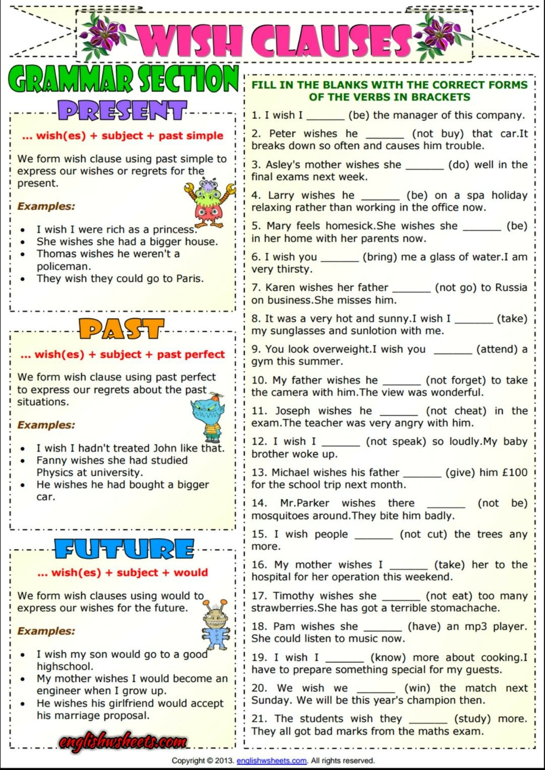 Wish Clauses ESL Grammar Exercises Worksheet | English | Pinterest ...