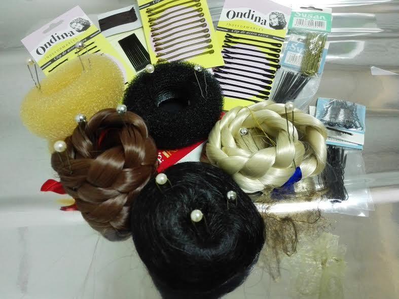 orquillas cerradas,abiertas,con perlas,rubias, morenas, negra: articulos para hacer un moño.