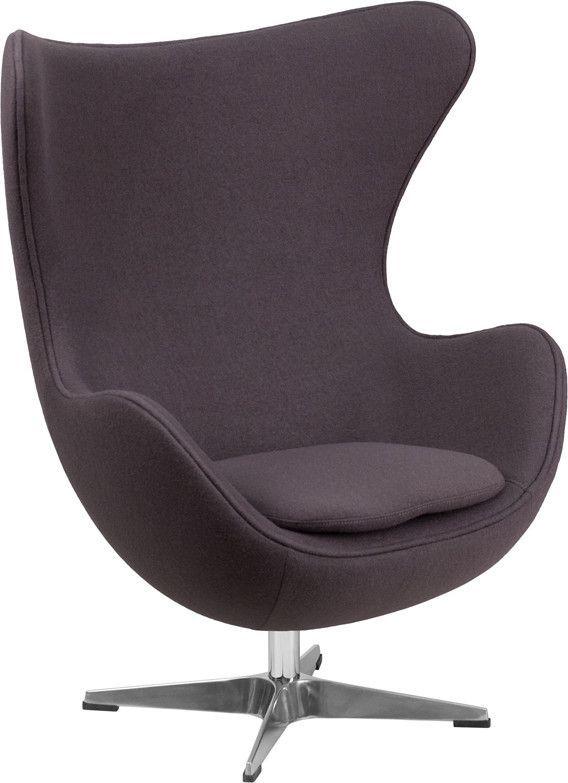 buy Gray Wool Fabric Egg Chair with Tilt-Lock Mechanism at Harvey ...