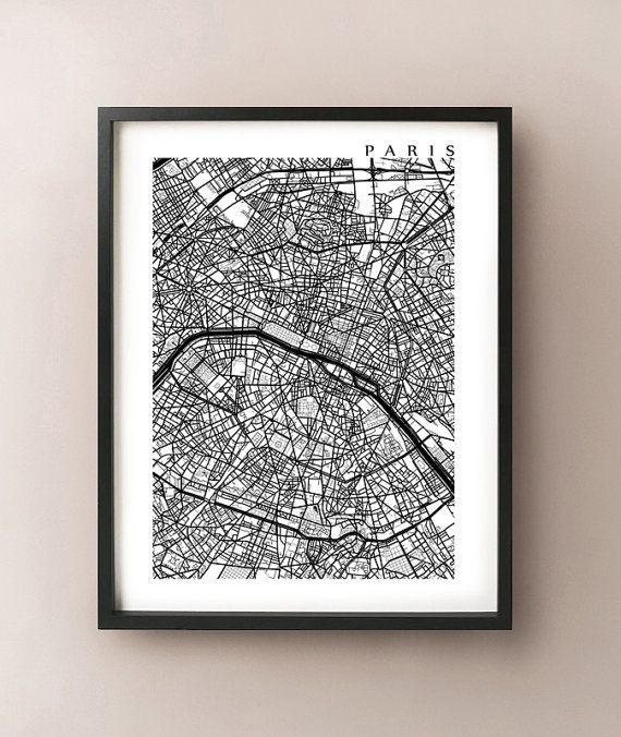 Paris Map Print Black And White Wall Art Wall Ideas White Wall