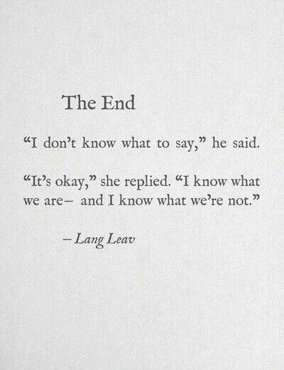 The End, Lang Leav