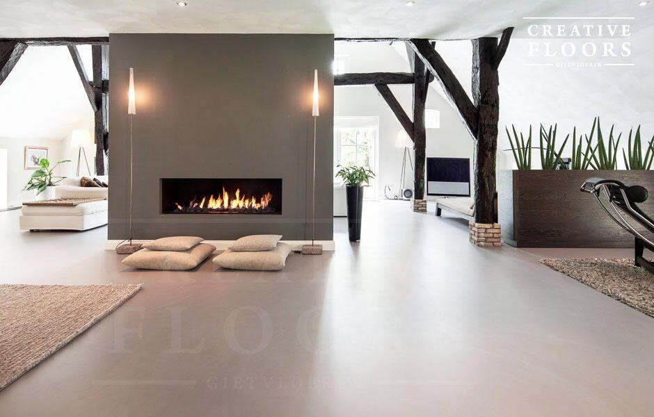 Exclusieve Gietvloer Woonkamer : Gietvloer betonlook woonboerderij interior vloeren betonvloeren