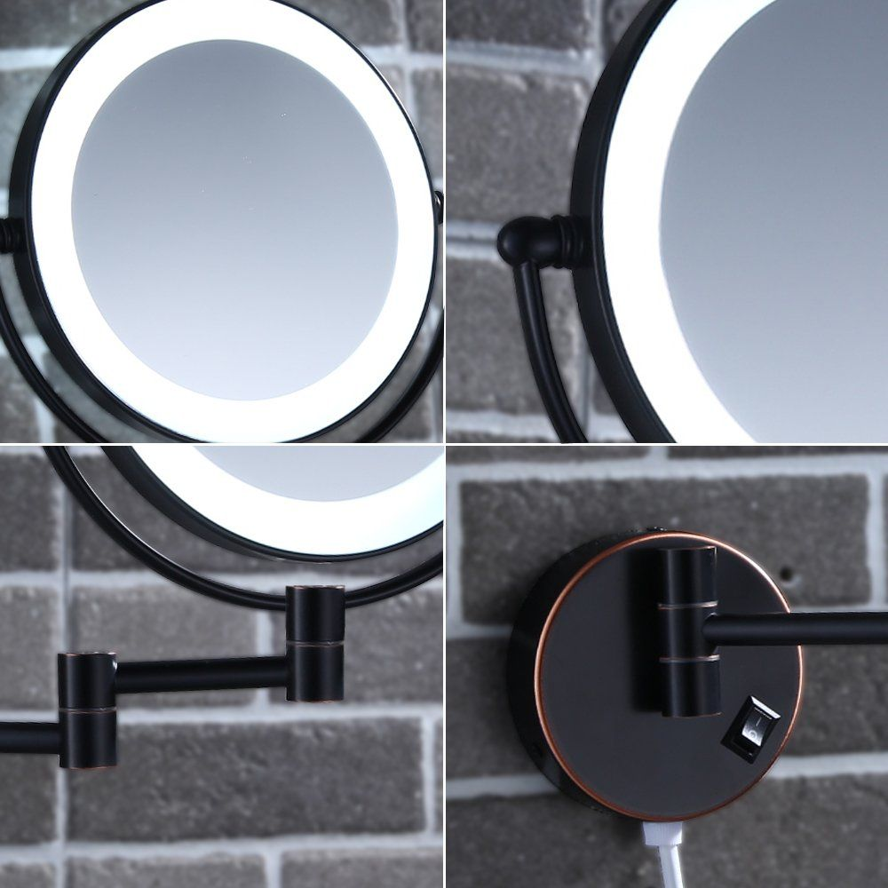 Gecious Wall Mounted Lighted Makeup Mirror 7x Magnification Oil
