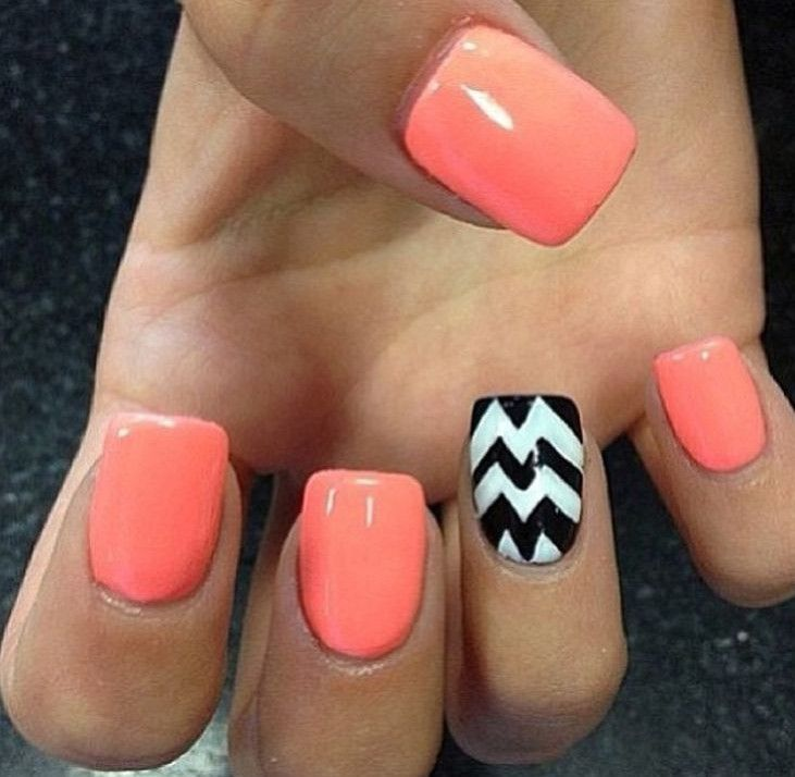 Coral and black nails google keress nails pinterest coral be crazy and funky with this bright colored nail art design the nails are colored with salmon white and black combination which is very pleasing to the prinsesfo Gallery