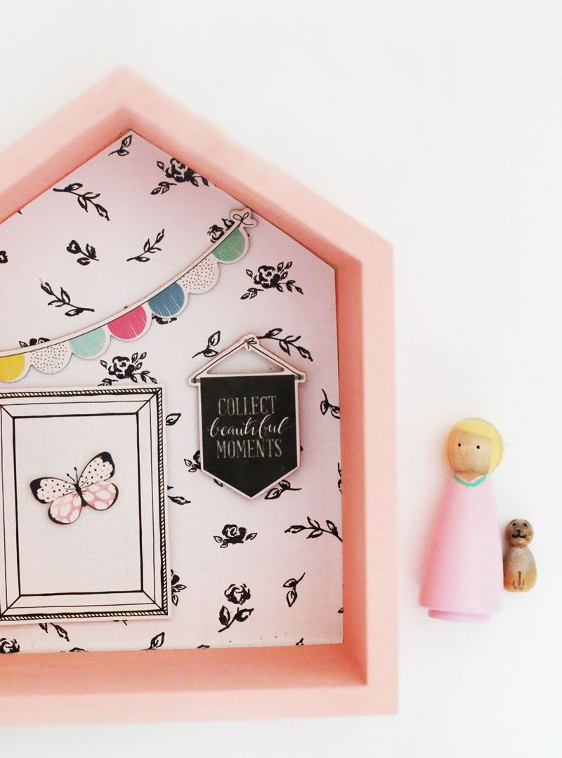 Have I got a fun D.I.Y for you today. I love crafting handmade items that can be used in every day home decor. If you have little ones this shadow box house D.I.Y is just for you. A fun modern loo…