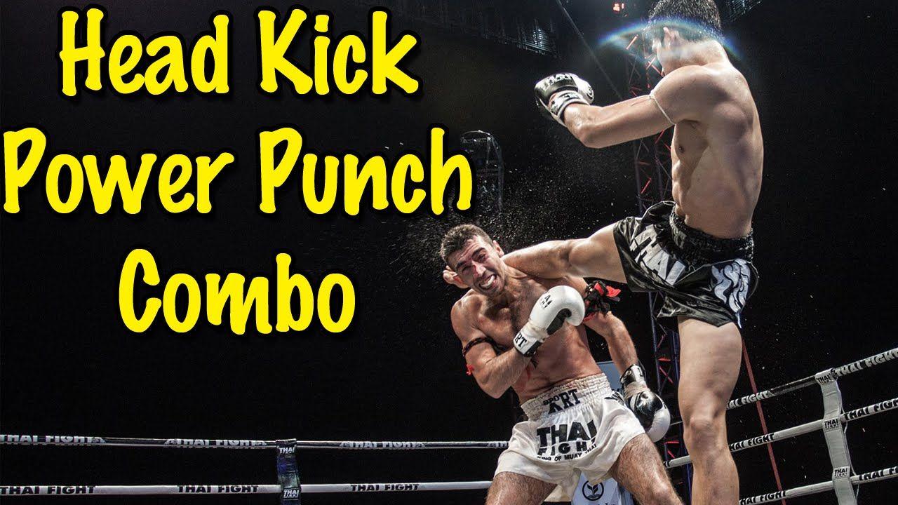 Muay thai head kick power punch combination technique
