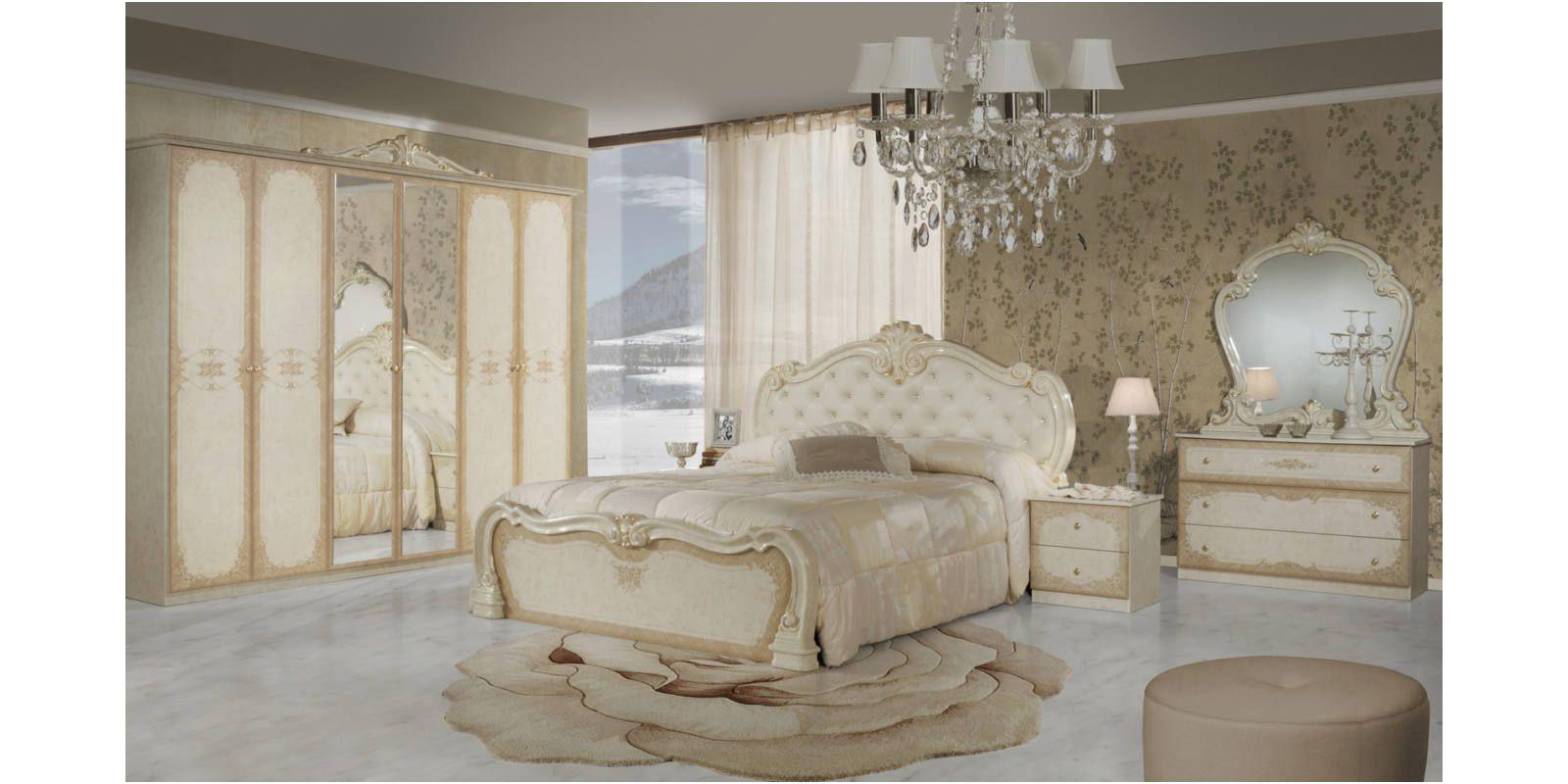 Tolouse klasszikus olasz hálószoba garnitúra, bézs színben