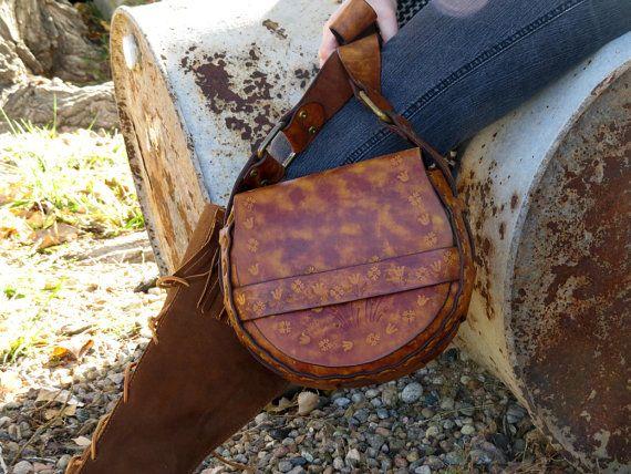 Vintage Boho Hippie Tooled Leather bag Handbag Purse Festival wear 1970's