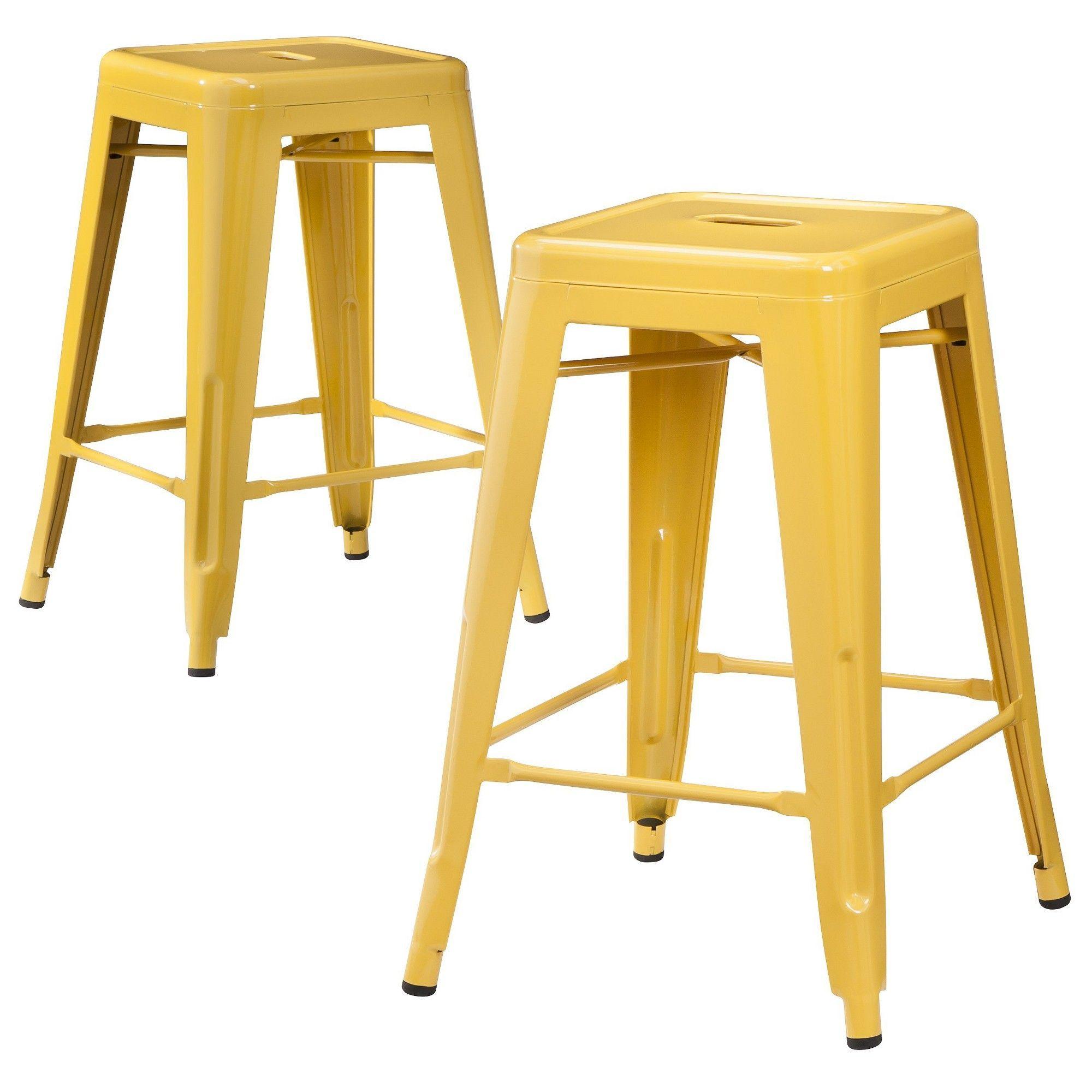 Superb Carlisle Metal 24 Counter Stool Yellow Set Of 2 Creativecarmelina Interior Chair Design Creativecarmelinacom