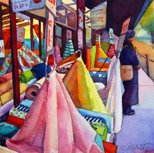 """Fabric Market, Paris"", 6"" x 6"", watercolor"