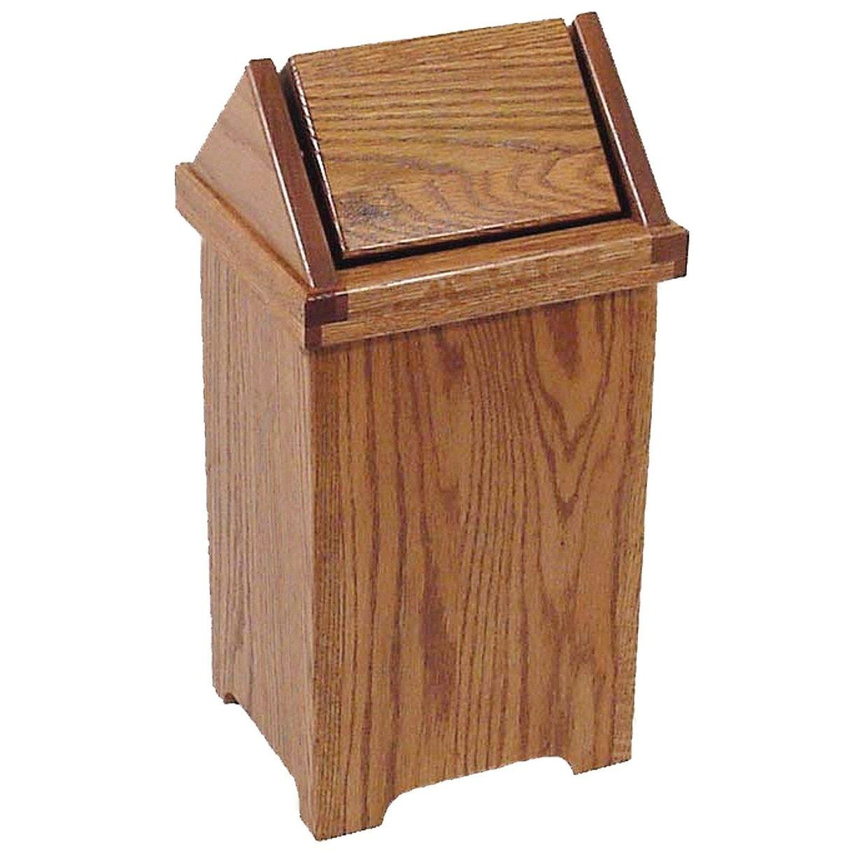 Oak Flip Top Trash Recycling Bin 12 W X 12 D X 19 H 12 16 Gallon Recycler Swing Lid Brown 12 W X 12 D Wood Trash Can Wooden Trash Can Kitchen Trash Cans