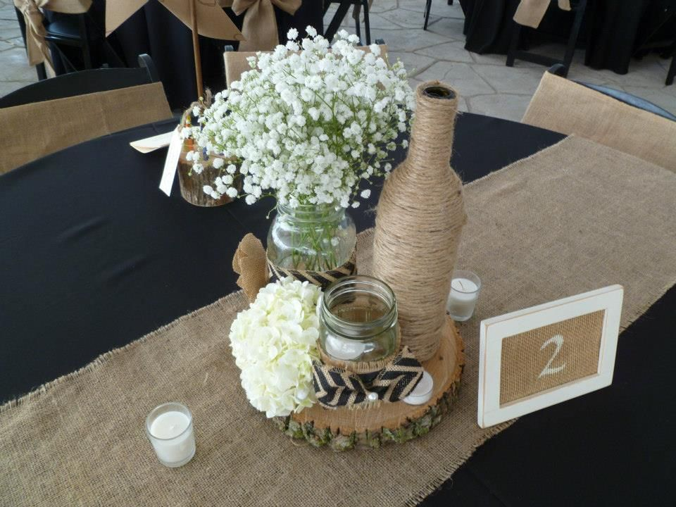 Centerpiece decor babies breath table numbers twine for Wine bottle table centerpieces